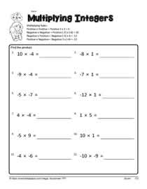 Mutiplying-Integers Worksheets