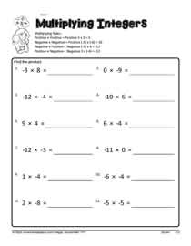 math worksheet : mutiplying integersworksheets : Integer Multiplication Worksheet