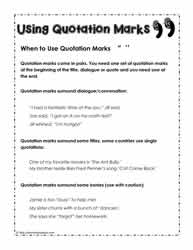 Printables Quotation Marks Worksheets quotation marks worksheetsworksheets rules