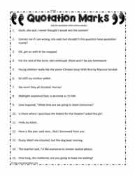 Quotation Mark Worksheet
