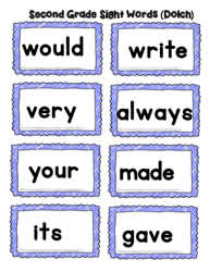 Second Grade Word Cards