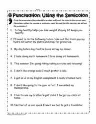 Worksheets Semicolon Worksheets semicolon worksheetsworksheets worksheets