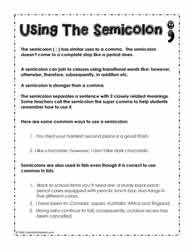 semicolon worksheets. Black Bedroom Furniture Sets. Home Design Ideas