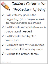 Success Criteria Procedural Writing