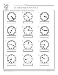 telling time to 5 minutes worksheets. Black Bedroom Furniture Sets. Home Design Ideas