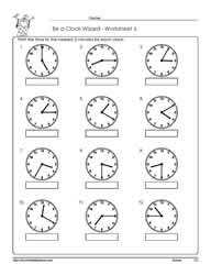 Telling-Time-to-5-Minutes Worksheets