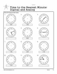 telling time to the nearest minute worksheets. Black Bedroom Furniture Sets. Home Design Ideas