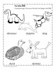 The Letter D Coloring Pictures