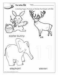 The Letter E Coloring Pictures