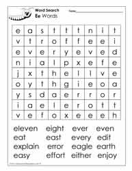 Words Beginning with E Wordsearch