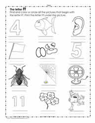 The Letter F Worksheets