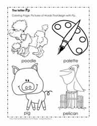 The Letter P Coloring Pictures