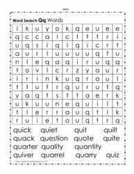 Words Beginning with Q Wordsearch