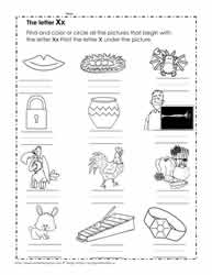 The Letter X Worksheets