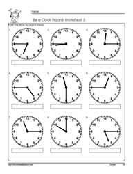 telling time to the quarter worksheet 3 - Time Worksheet