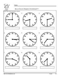 telling time to the quarter worksheet 9 - Telling Time Worksheet
