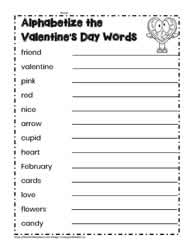 Alphabetize the Valentine's Day Words