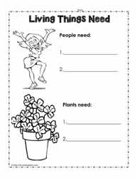 Living Things Need Worksheet