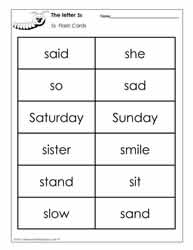 Word Wall Words for the Letter S