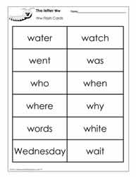 Word Wall Words for the Letter W