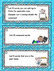 Word Study Task Cards