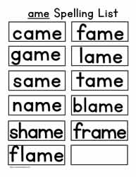 ame Spelling List