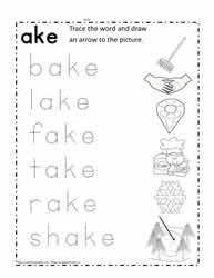 ake Word Family Worksheet