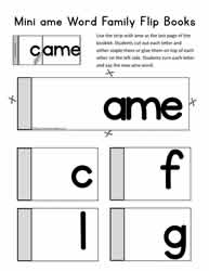 ame Word Family Flip Book
