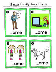 11 am Word Family Task Cards