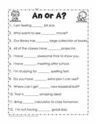 An or A Worksheets