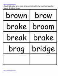 Br word study lists, brown, brag etc.