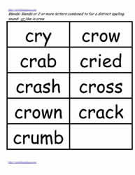 Cr word study lists, cry, crow, crab etc.