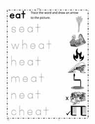 eat Word Family Worksheet