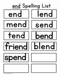 end Spelling List
