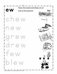 ew Word Family Worksheet