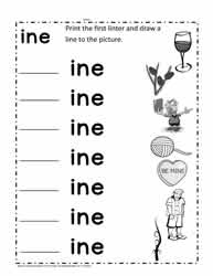 ine Word Family Worksheet
