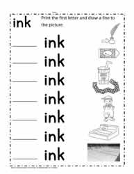 ink Words Worksheet