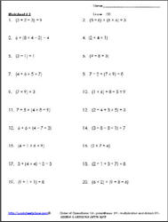 Operations with Parenthesis Worksheet 2