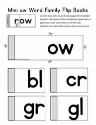 Word Family Flip Book for ow