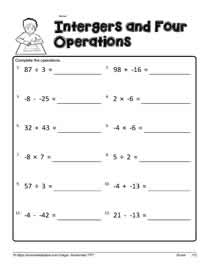 Printables Integer Operations Worksheets mixed operations with integersworksheets integer worksheet 2