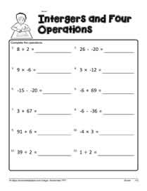 Printables Integer Worksheets mixed operations with integersworksheets integer worksheet 3