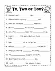 To, too or two worksheets Worksheets