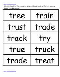 Tr word study lists, true, truck etc.